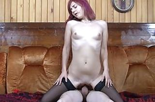 Quickie with sandy-haired in nylons