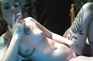 Super-hot tattoed smocking mega-slut pummels faux-cock on webcam